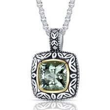 Cushion Cut 3.75 Carats Green Amethyst Antique Style Pendant in Sterling Silver