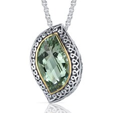 Leaf Cut 8.00 Carats Green Amethyst Ribbon Motif Pendant in Sterling Silver