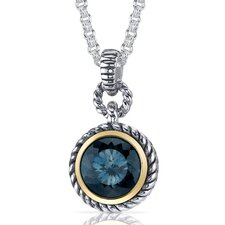 Portuguese Cut 4.50 Carats London Blue Topaz Twisted Cable Pendant in Sterling Silver