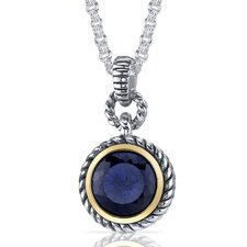 <strong>Oravo</strong> Portuguese Cut 5.00 Carats Blue Sapphire Twisted Cable Pendant in Sterling Silver