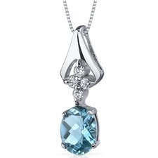 Ethereal Enchantment 1.50 Carats Oval Shape Swiss Blue Topaz Pendant in Sterling Silver