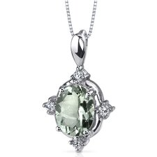 Stunning Classic 1.50 Carats Oval Shape Green Amethyst Pendant in Sterling Silver