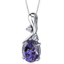Illuminating Sophistication 3.50 Carats Oval Shape Alexandrite Pendant in Sterling Silver
