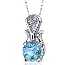Regal Radiance 1.50 Carats Round Shape Swiss Blue Topaz Pendant in Sterling Silver