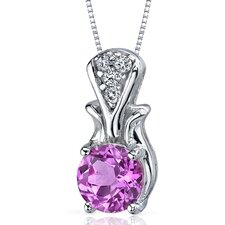 Regal Radiance 1.75 Carats Round Shape Pink Sapphire Pendant in Sterling Silver