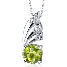 Sublime Elegance 1.25 Carats Round Shape Peridot Pendant in Sterling Silver