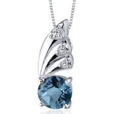 Sublime Elegance 1.50 Carats Round Shape London Blue Topaz Pendant in Sterling Silver