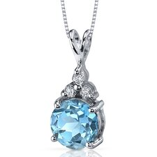 Refined Class 2.25 Carats Round Shape Swiss Blue Topaz Pendant in Sterling Silver
