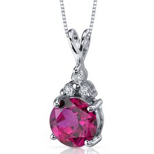 Refined Class 2.75 Carats Round Shape Ruby Pendant in Sterling Silver