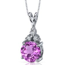 Refined Class 2.50 Carats Round Shape Pink Sapphire Pendant in Sterling Silver