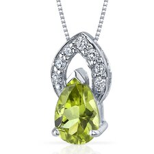 Captivating Allure 1.25 Carats Pear Shape Peridot Pendant in Sterling Silver