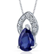 Captivating Allure 1.75 Carats Pear Shape Blue Sapphire Pendant in Sterling Silver