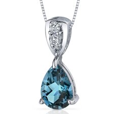 Vivid Energy 2.00 Carats Pear Shape London Blue Topaz Pendant in Sterling Silver