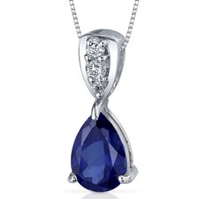 Vivid Energy 2.50 Carats Pear Shape Blue Sapphire Pendant in Sterling Silver