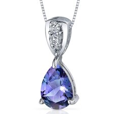 Vivid Energy 2.50 Carats Pear Shape Alexandrite Pendant in Sterling Silver