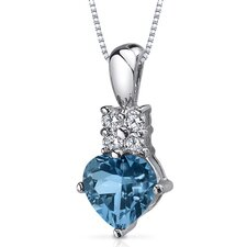Captivating Love 1.25 Carats Heart Shape London Blue Topaz Pendant in Sterling Silver