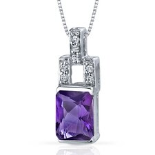 Exquisite Brilliance 1.25 Carats Radiant Shape Amethyst Pendant in Sterling Silver