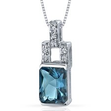 Exquisite Brilliance 2.00 Carats Radiant Shape London Blue Topaz Pendant in Sterling Silver