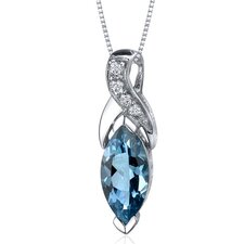 Striking Opulence 1.75 Carats Marquise Shape London Blue Topaz Pendant in Sterling Silver