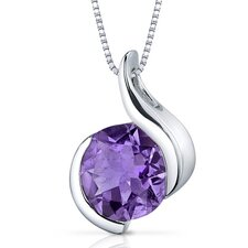 Stunning Sophistication 1.75 Carats Round Shape Amethyst Pendant in Sterling Silver