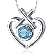 Art of Love 1.00 Carat Round Cut Swiss Blue Topaz Pendant in Sterling Silver