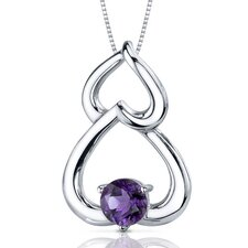 Sublime Love 0.75 Carat Round Cut Amethyst Pendant in Sterling Silver