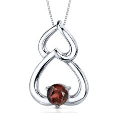 Sublime Love 1.00 Carat Round Cut Garnet Pendant in Sterling Silver