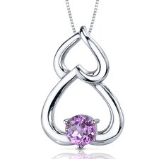 Sublime Love 1.25 Carats Round Cut Pink Sapphire Pendant in Sterling Silver