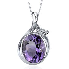 Boldly Colorful 4.00 Carats Oval Cut Amethyst Pendant in Sterling Silver