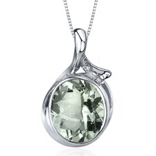 Boldly Colorful 4.00 Carats Oval Cut Green Amethyst Pendant in Sterling Silver