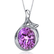 Boldly Colorful 6.50 Carats Oval Cut Pink Sapphire Pendant in Sterling Silver