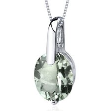 Stunning Class 2.25 Carats Oval Cut Green Amethyst Pendant in Sterling Silver