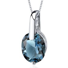 <strong>Oravo</strong> Stunning Class 3.00 Carats Oval Cut London Blue Topaz Pendant in Sterling Silver