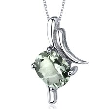 Stimulating Allure 1.50 Carats Oval Cut Green Amethyst Pendant in Sterling Silver