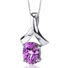 Smooth Radiance 2.50 Carats Oval Cut Pink Sapphire Pendant in Sterling Silver