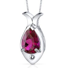 Fish Design 2.50 Carats Pear Shape Ruby Pendant in Sterling Silver