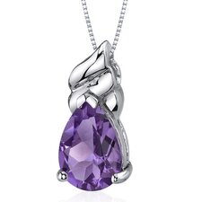 Dashing 2.50 Carats Pear Shape Amethyst Pendant in Sterling Silver