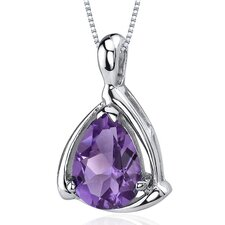 Enchanting Elegance 1.50 Carats Pear Shape Amethyst Pendant in Sterling Silver