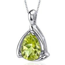 Enchanting Elegance 1.75 Carats Pear Shape Peridot Pendant in Sterling Silver