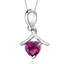Charming Spiral 2.25 Carats Heart Shape Ruby Pendant in Sterling Silver