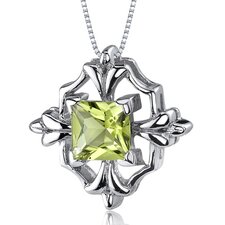 Captivating Brilliance 1.00 Carats Princess Cut Peridot Pendant in Sterling Silve