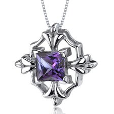 Captivating Brilliance 1.50 Carats Princess Cut Alexandrite Pendant in Sterling Silve
