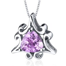 Radiant Waves 1.50 Carats Trillion Cut Pink Sapphire Pendant in Sterling Silve