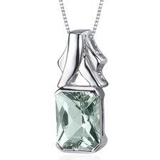 Lucid Elegance 2.00 Carats Radiant Cut Green Amethyst Pendant in Sterling Silve