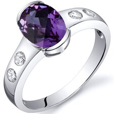 Elegant 1.75 carats Half Bezel Solitaire Ring in Sterling Silver