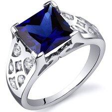 V Prong Princess Cut 2.00 Carats CZ Ring in Sterling Silver