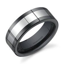 Flat Edge 8 mm Comfort Fit Mens Black Ceramic and Tungsten Combination Wedding Band Ring