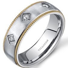 Mill grain Style Titanium 3 Stone Mens Gold Tone 8 mm Wedding Band