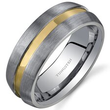 Rounded Edge 8 mm Comfort Fit Mens Rose Gold Tone Tungsten Wedding Band Ring