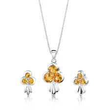 2.75 cts Round Cut Citrine Pendant Earrings in Sterling Silver Free 18 inch Necklace